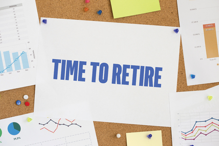 retire: CHART BUSINESS GRAPH RESULT COMPANY TIME TO RETIRE CONCEPT Stock Photo