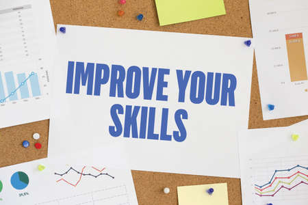 interpersonal: CHART BUSINESS GRAPH RESULT COMPANY  IMPROVE YOUR SKILLS CONCEPT Stock Photo