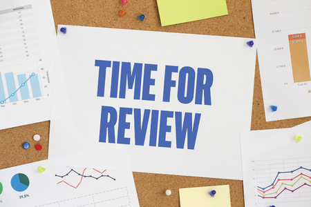 reassessment: CHART BUSINESS GRAPH RESULT COMPANY TIME FOR REVIEW CONCEPT Stock Photo