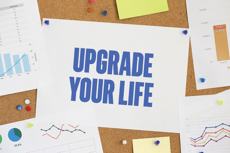 life extension: CHART BUSINESS GRAPH RESULT COMPANY  UPGRADE YOUR LIFE CONCEPT Stock Photo