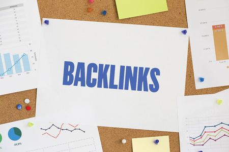 linkbuilding: Charts and Graphs Showing the Results with BACKLINKS word written paper on corkboard Stock Photo