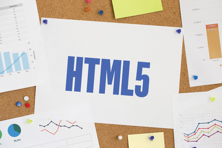 html5: Charts and Graphs Showing the Results with HTML5 word written paper on corkboard Stock Photo