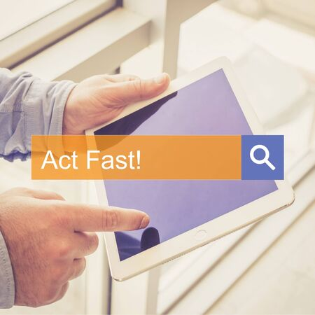 expiring: SEARCH TECHNOLOGY COMMUNICATION  Act Fast! TABLET FINDING CONCEPT Stock Photo