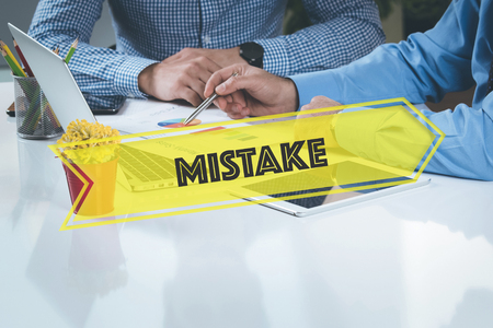 blunder: BUSINESS WORKING OFFICE Mistake TEAMWORK BRAINSTORMING CONCEPT Stock Photo