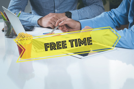 office time: BUSINESS WORKING OFFICE Free Time TEAMWORK BRAINSTORMING CONCEPT Stock Photo