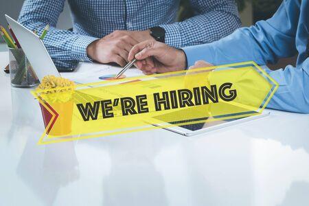 were: BUSINESS WORKING OFFICE Were Hiring TEAMWORK BRAINSTORMING CONCEPT