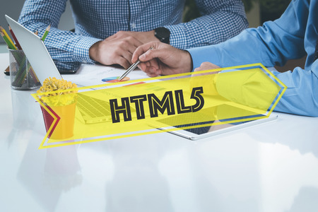 html5: BUSINESS WORKING OFFICE Html5 TEAMWORK BRAINSTORMING TECHNOLOGY CONCEPT Stock Photo