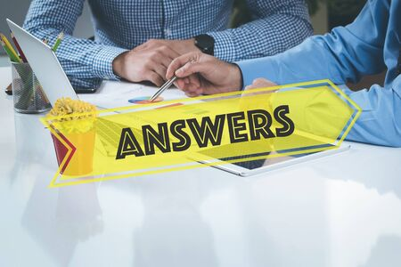 warranty questions: BUSINESS WORKING OFFICE Answers TEAMWORK BRAINSTORMING CONCEPT