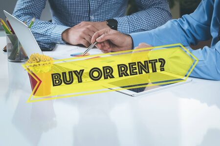 buying questions: BUSINESS WORKING OFFICE Buy Or Rent? TEAMWORK BRAINSTORMING CONCEPT