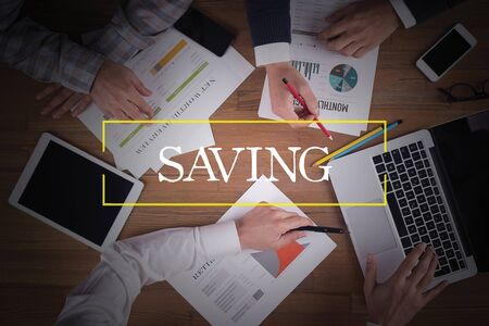 frugality: BUSINESS TEAM WORKING OFFICE  Saving TEAMWORK BRAINSTORMING CONCEPT Stock Photo