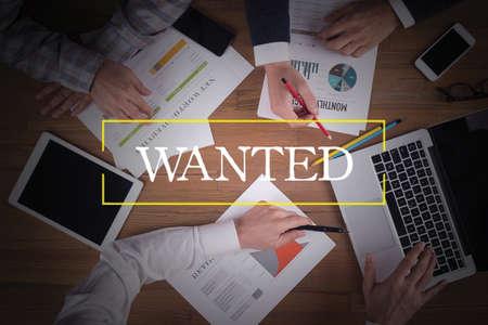 recruit help: BUSINESS TEAM WORKING OFFICE  Wanted TEAMWORK BRAINSTORMING CONCEPT
