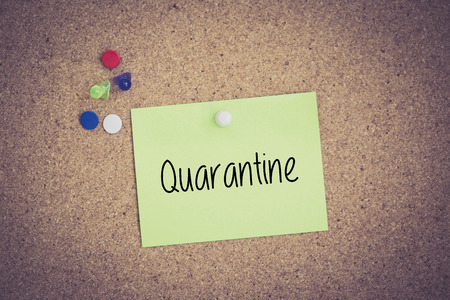 quarantine: Quarantine written on sticky note pinned on pinboard