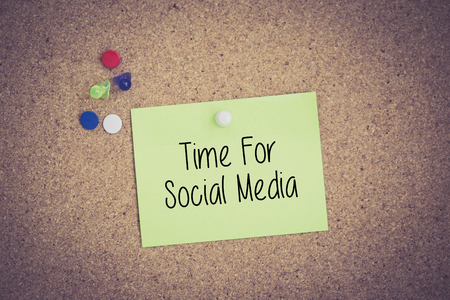 textcloud: Time For Social Media written on sticky note pinned on pinboard Stock Photo