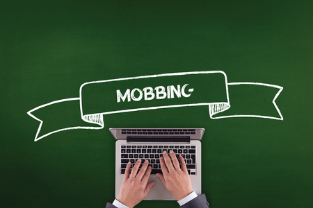 mobbing: PEOPLE WORKING OFFICE COMMUNICATION  MOBBING TECHNOLOGY CONCEPT Stock Photo