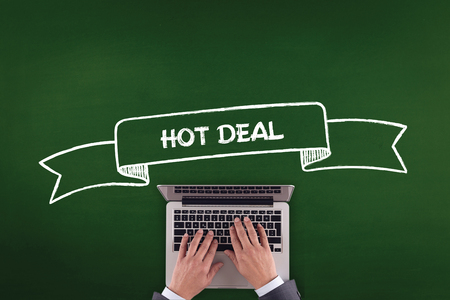 technology deal: PEOPLE WORKING OFFICE COMMUNICATION  HOT DEAL TECHNOLOGY CONCEPT Stock Photo