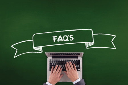 faq's: PEOPLE WORKING OFFICE COMMUNICATION  FAQS TECHNOLOGY CONCEPT