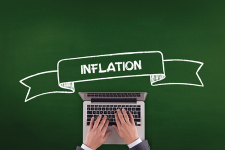 price uncertainty: PEOPLE WORKING OFFICE COMMUNICATION  INFLATION TECHNOLOGY CONCEPT Stock Photo
