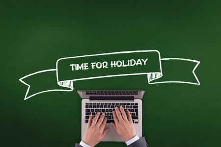 furlough: PEOPLE WORKING OFFICE COMMUNICATION  TIME FOR HOLIDAY TECHNOLOGY CONCEPT