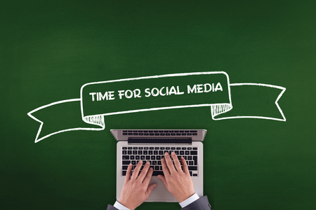 textcloud: PEOPLE WORKING OFFICE COMMUNICATION  TIME FOR SOCIAL MEDIA TECHNOLOGY CONCEPT Stock Photo