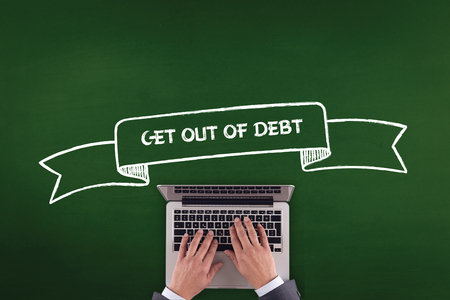 get out: PEOPLE WORKING OFFICE COMMUNICATION  GET OUT OF DEBT TECHNOLOGY CONCEPT Stock Photo