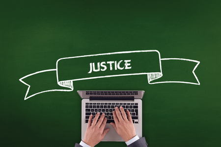 judicature: PEOPLE WORKING OFFICE COMMUNICATION  JUSTICE TECHNOLOGY CONCEPT Stock Photo