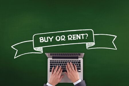 buying questions: PEOPLE WORKING OFFICE COMMUNICATION  BUY OR RENT? TECHNOLOGY CONCEPT Stock Photo