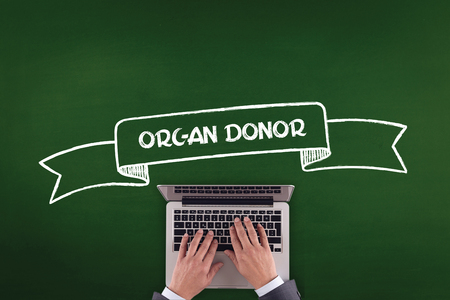 donor: PEOPLE WORKING OFFICE COMMUNICATION  ORGAN DONOR TECHNOLOGY CONCEPT Stock Photo