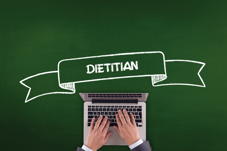 dietology: PEOPLE WORKING OFFICE COMMUNICATION  DIETITIAN TECHNOLOGY CONCEPT Stock Photo