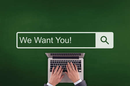 we the people: PEOPLE WORKING OFFICE COMMUNICATION  WE WANT YOU! TECHNOLOGY SEARCHING CONCEPT Stock Photo