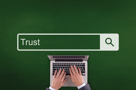 trust people: PEOPLE WORKING OFFICE COMMUNICATION  TRUST TECHNOLOGY SEARCHING CONCEPT Stock Photo