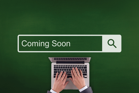 presently: PEOPLE WORKING OFFICE COMMUNICATION  COMING SOON TECHNOLOGY SEARCHING CONCEPT