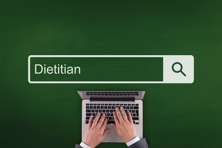 dietology: PEOPLE COMMUNICATION HEALTHCARE  DIETITIAN TECHNOLOGY SEARCHING CONCEPT Stock Photo