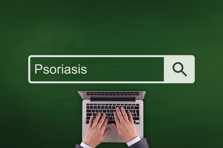 psoriasis: PEOPLE COMMUNICATION HEALTHCARE  PSORIASIS TECHNOLOGY SEARCHING CONCEPT Stock Photo