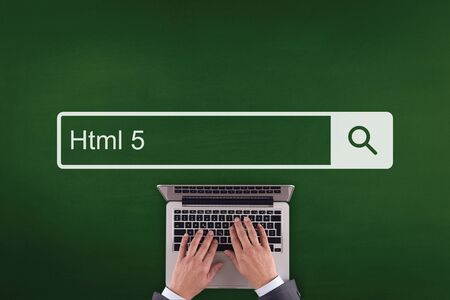 html5: PEOPLE WORKING OFFICE COMMUNICATION  HTML5 TECHNOLOGY SEARCHING CONCEPT Stock Photo
