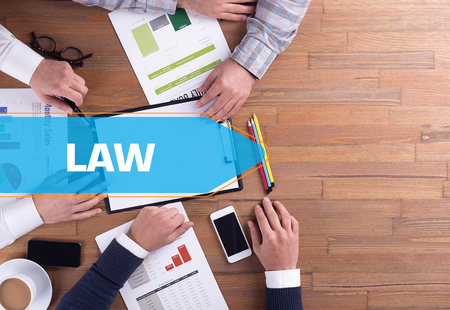 prosecutor: BUSINESS TEAM WORKING OFFICE LAW DESK CONCEPT Stock Photo