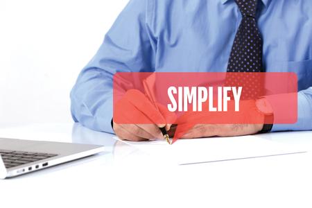 simplification: BUSINESSMAN WORKING OFFICE  SIMPLIFY COMMUNICATION SPEECH BUBBLE CONCEPT