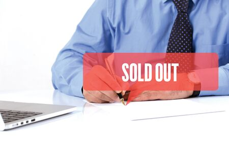 recommendations: BUSINESSMAN WORKING OFFICE  SOLD OUT COMMUNICATION SPEECH BUBBLE CONCEPT Stock Photo