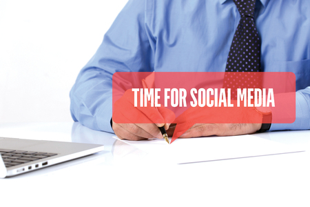 BUSINESSMAN WORKING OFFICE  TIME FOR SOCIAL MEDIA COMMUNICATION SPEECH BUBBLE CONCEPT Stock Photo