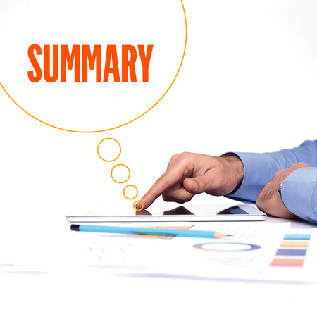 summary: BUSINESSMAN WORKING OFFICE  SUMMARY COMMUNICATION TECHNOLOGY CONCEPT Stock Photo