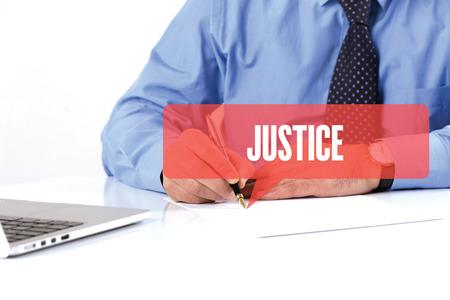 justness: BUSINESSMAN WORKING OFFICE  JUSTICE COMMUNICATION SPEECH BUBBLE CONCEPT