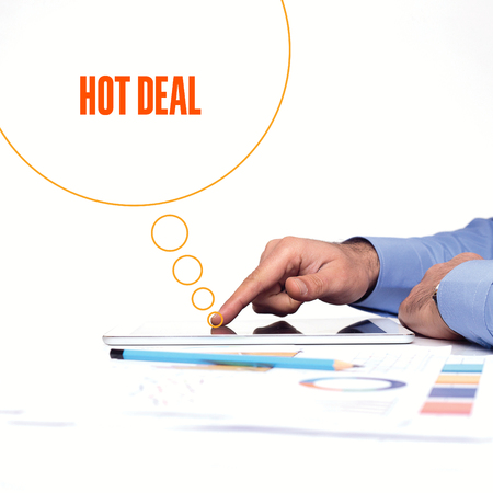 technology deal: BUSINESSMAN WORKING OFFICE  HOT DEAL COMMUNICATION TECHNOLOGY CONCEPT Stock Photo