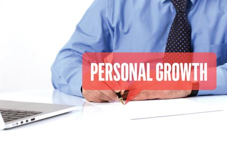 crecimiento personal: BUSINESSMAN WORKING OFFICE  PERSONAL GROWTH COMMUNICATION SPEECH BUBBLE CONCEPT Foto de archivo