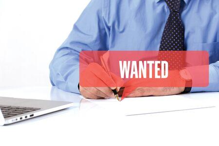 recruit help: BUSINESSMAN WORKING OFFICE  WANTED COMMUNICATION SPEECH BUBBLE CONCEPT