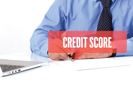 creditworthiness: BUSINESSMAN WORKING OFFICE  CREDIT SCORE COMMUNICATION SPEECH BUBBLE CONCEPT