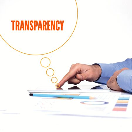 evident: BUSINESSMAN WORKING OFFICE  TRANSPARENCY COMMUNICATION TECHNOLOGY CONCEPT Stock Photo