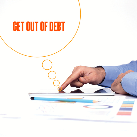 get out: BUSINESSMAN WORKING OFFICE  GET OUT OF DEBT COMMUNICATION TECHNOLOGY CONCEPT