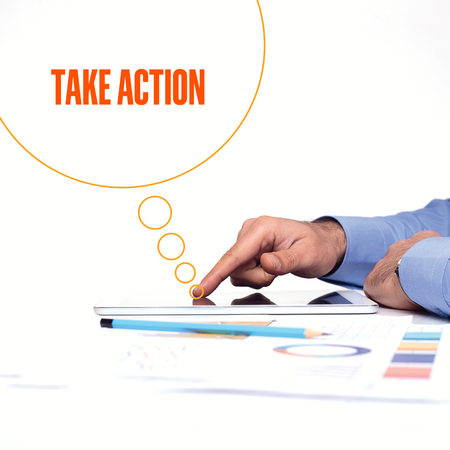 take action: BUSINESSMAN WORKING OFFICE  TAKE ACTION COMMUNICATION TECHNOLOGY CONCEPT Stock Photo
