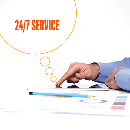 24x7: BUSINESSMAN WORKING OFFICE  247 SERVICE COMMUNICATION TECHNOLOGY CONCEPT