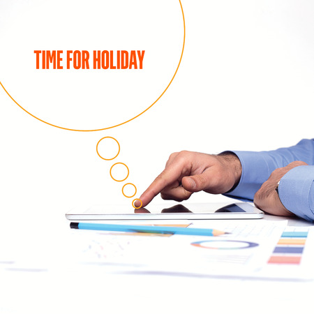 furlough: BUSINESSMAN WORKING OFFICE  TIME FOR HOLIDAY COMMUNICATION TECHNOLOGY CONCEPT