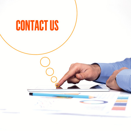 contactus: BUSINESSMAN WORKING OFFICE  CONTACT US COMMUNICATION TECHNOLOGY CONCEPT